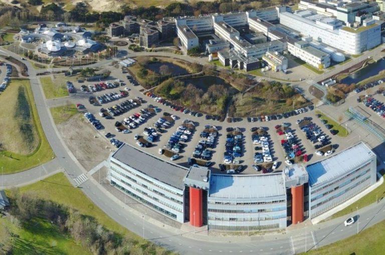 A birds-eye view of the ESTEC building at ESA