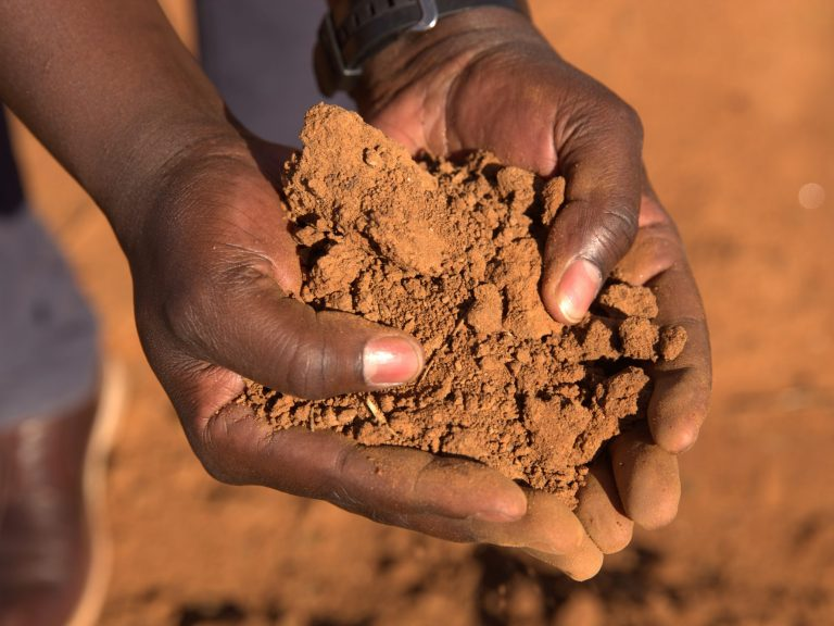 Two hands holding dry red soil in Uganda