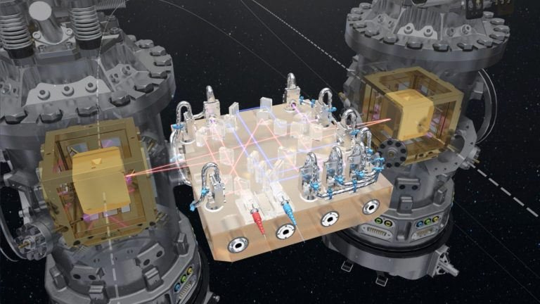 At the core of LISA Pathfinder are the two test masses: a pair of identical 46 mm gold–platinum cubes, floating freely, several millimetres from the walls of their housings. The cubes are separated by 38 cm and linked only by laser beams to measure their position continuously. Image copyright: ESA/ATG medialab