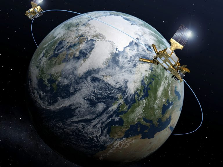Satellite from the Copernicus programme orbiting Earth