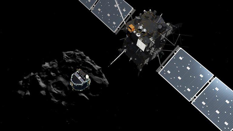 Philae separating from Rosetta and descending to the surface of comet 67P/Churyumov-Gerasimenko. Image copyright: ESA/ATG medialab
