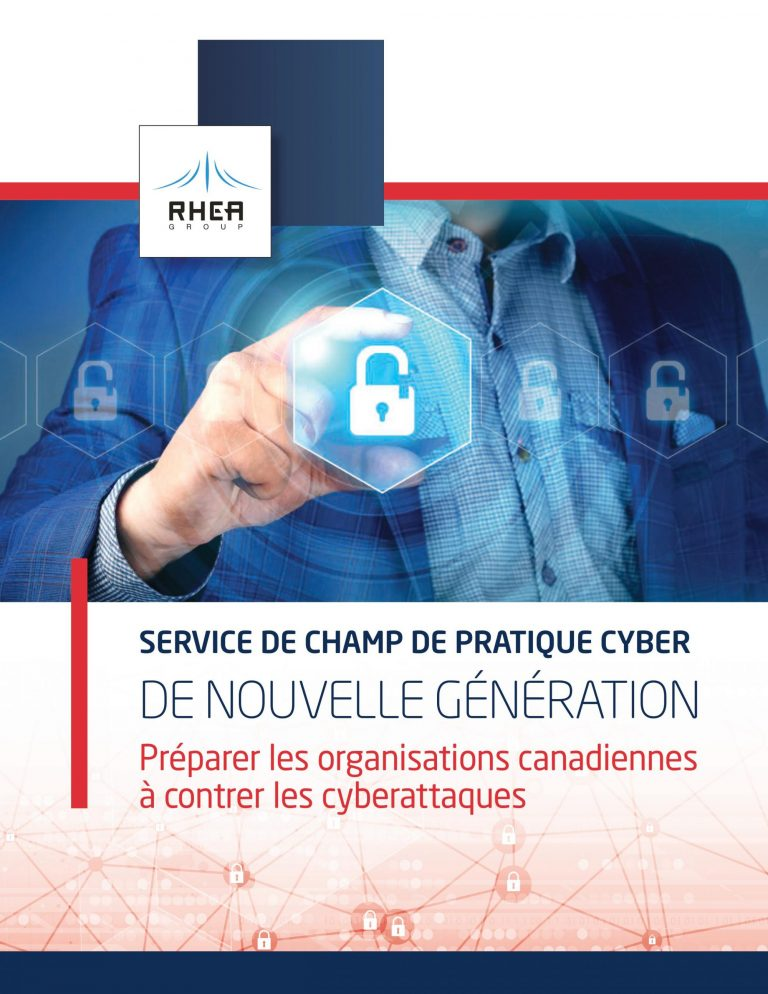 RHEA Group Cyber-Range Services brochure cover in French