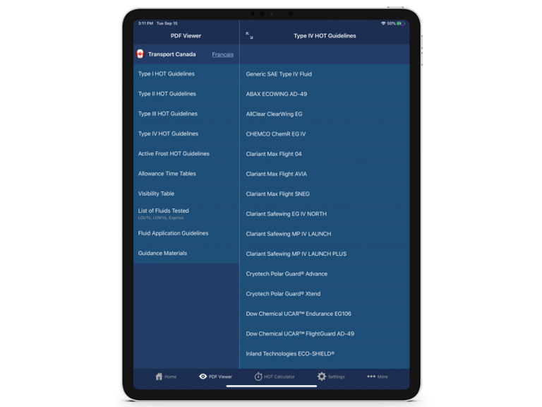 APS Aviation HOT App 2020 logs screen