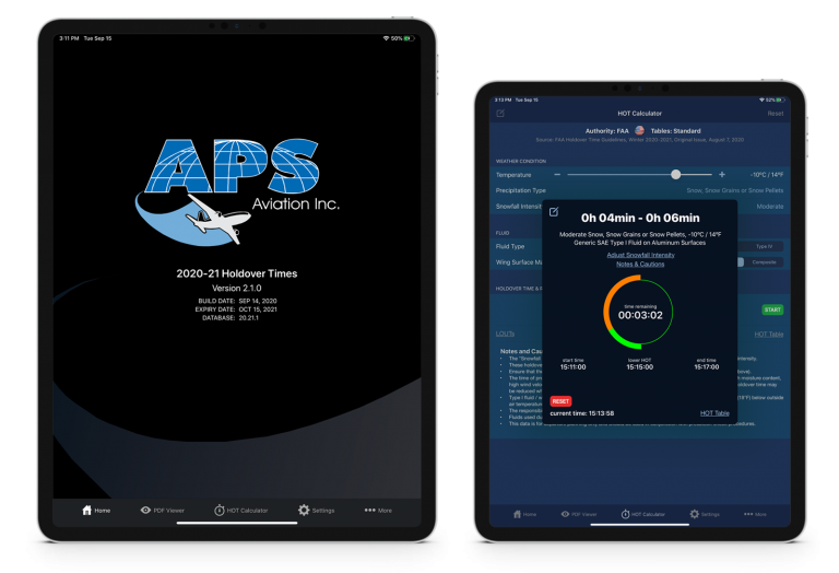 APS Aviation HOT App 2020 2 screens