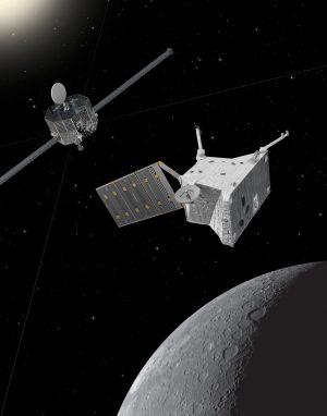 Artist's impression of BepiColombo at Mercury. Copyright - Spacecraft: ESA/ATG medialab; Mercury: NASA/Johns Hopkins University Applied Physics Laboratory/Carnegie Institution of Washington
