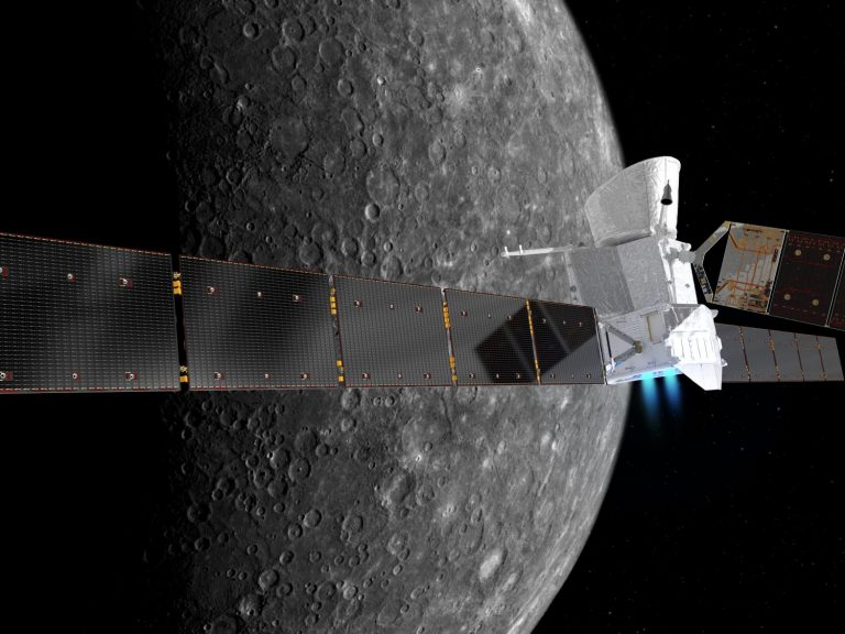 Artist's impression of BepiColombo at Mercury. Copyright - spacecraft: ESA/ATG medialab; Mercury: NASA/JPL