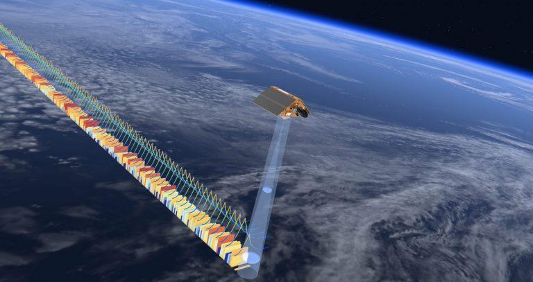 Copernicus Sentinel 6 radar altimeter in space floating above Earth