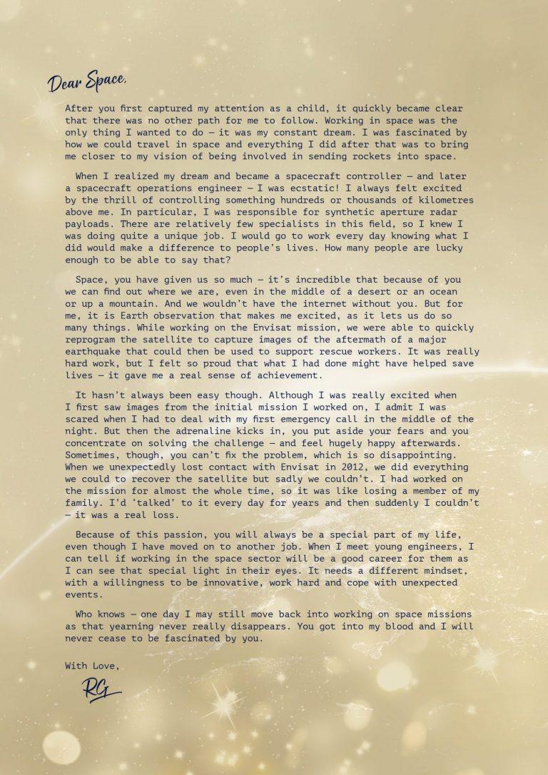 Lettre d'amour du groupe RHEA à l'espace