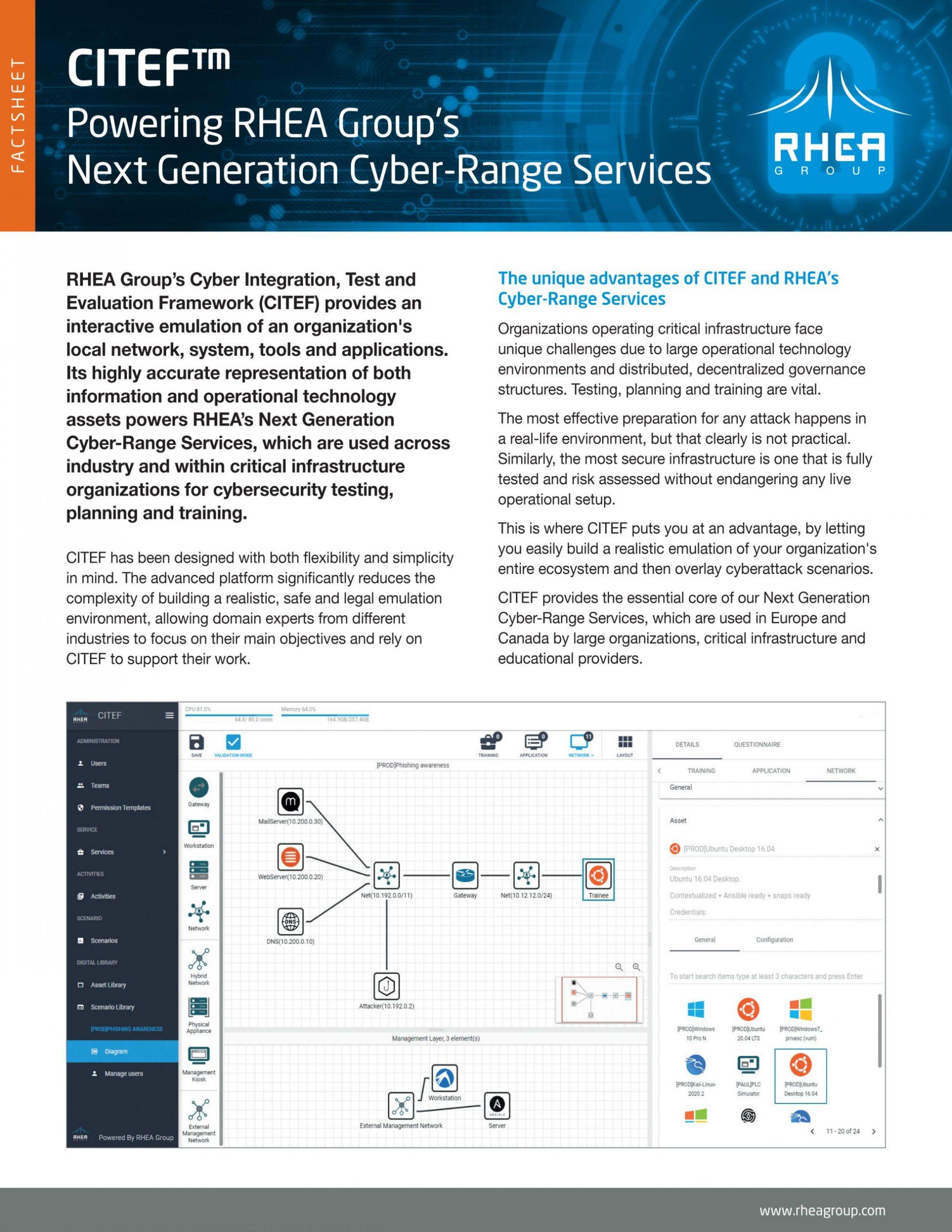 RHEA Group CITEF Cyber Range Factsheet English cover