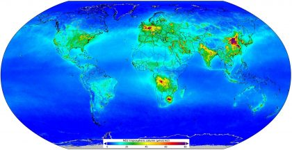 Average nitrogen dioxide worldwide levels gathered by the Copernicus Sentinel-5P satellite, April-September 2018. © Contains modified Copernicus data (2018), processed by KNMI.