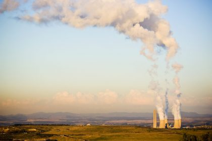 Factory chimneys emitting pollutants