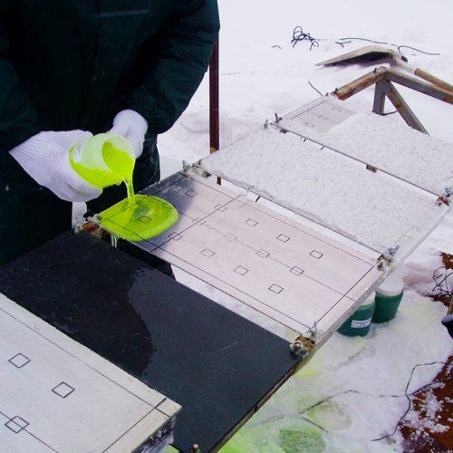 APS Aviation team testing aviation de-icing fluid in Canada
