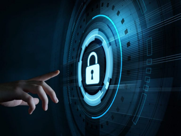 Cybersecurity hand pointing at digital padlock