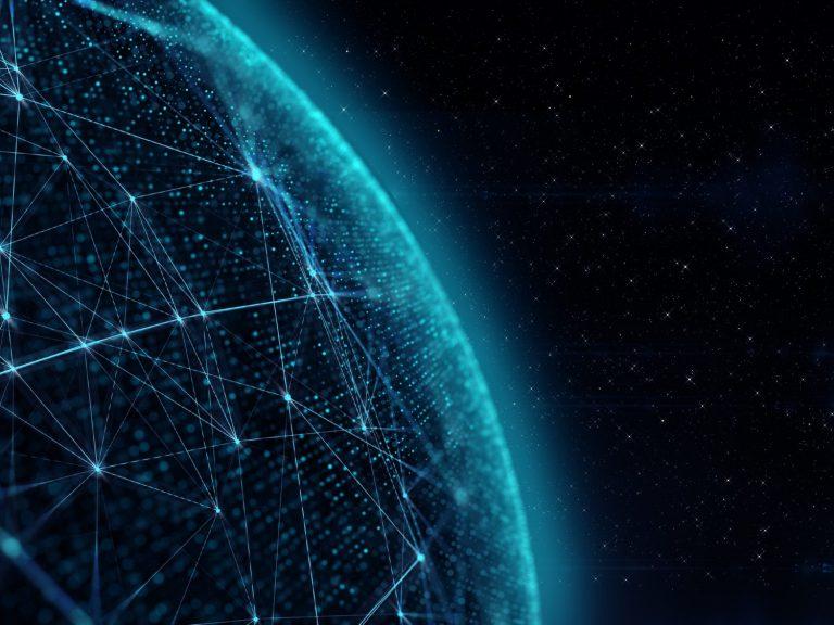 Part of globe illustrating big data and analytics