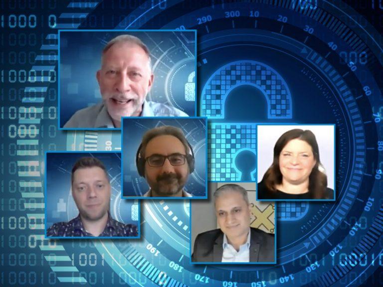 RHEA Talk on cybersecurity training showing speakers