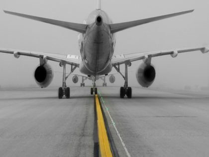 Airplane on runway during winter conditions